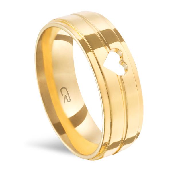 Aliança Folheada a Ouro Reta Anatômica c/ 2 Frisos Alto Relevo e Coração Vazado 6,50MM - 3250 - L