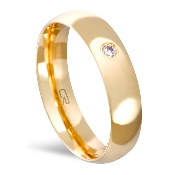 Aliança Folheada a Ouro Lisa 5MM c/ Ped - 13240501