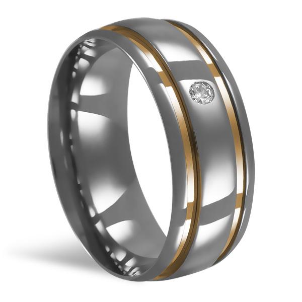 Aliança de Aço Anat. 8 MM C/ 2 Filete de Ouro e Pedra - 3AP82
