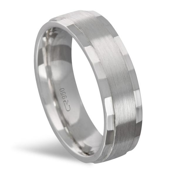Aliança de Prata Reta Diamantada 6 MM Duplo - 2235