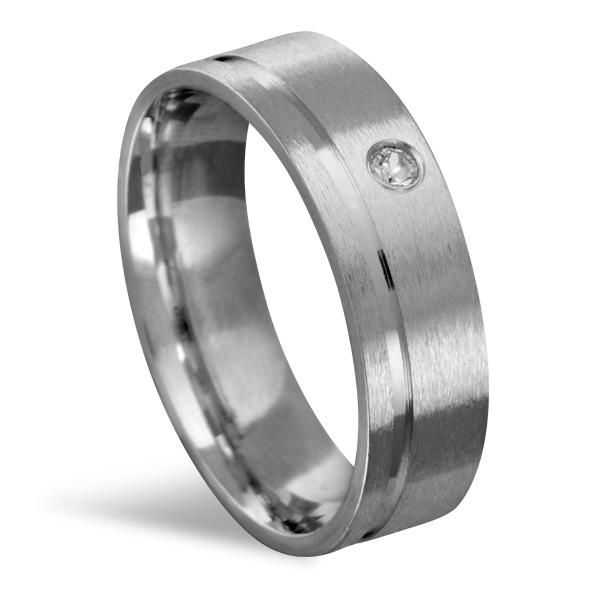 Aliança de Aço Reta C/ Pedra e Friso 6 MM - RAAP6