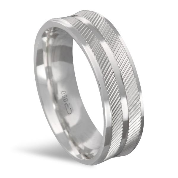 Aliança de Prata Reta Diamantada 6 MM - RD62